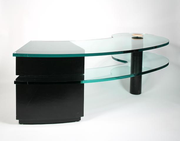 A Karl Springer leather and glass Constellation desk