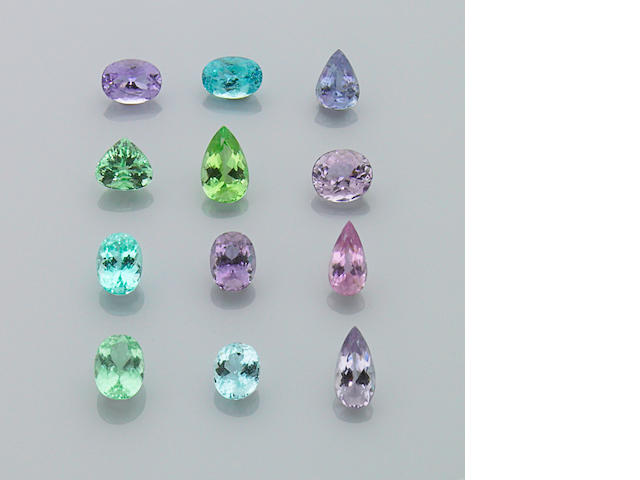 "Suite of Twelve Natural Fancy Colored Tourmalines—The New ""Paraiba"""