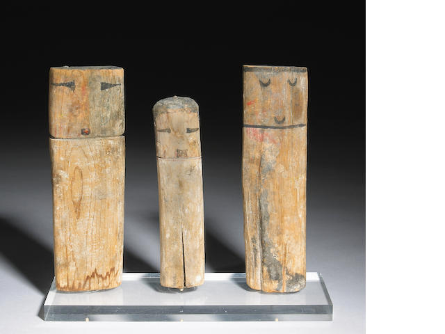 Three Pueblo kachina dolls