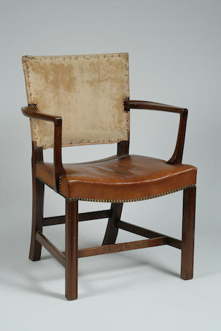 A Kaare Klint mahogany and leather Red (Barcelona) chair