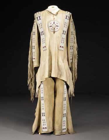 A Blackfoot man's beaded shirt and leggings