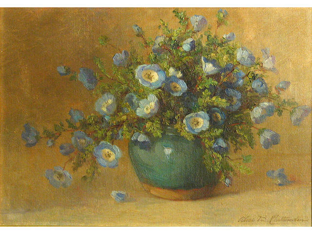 Alice Brown Chittenden (American, 1859-1944) Bouquet of blue Nemophila 10 x 14in