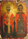 Russian icon, Two standing Sts., o/p