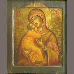 Russian icon, Madonna and child, o/p