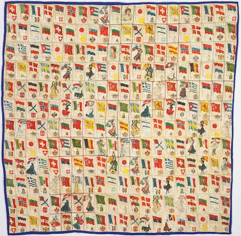 A printed silk flag quilt