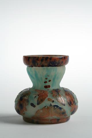A Le Verre Français cameo glass butterfly  vase