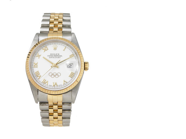Rolex. A fine and unusual stainless steel and gold self-winding calendr bracelet watch made to commemorate the 1996 Atlanta Olympic games