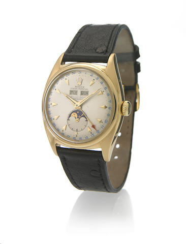 Rolex. A very fine and rare 18k gold self-winding triple calendar wristwatch with phases of the moonOyster Perpetual, Ref.6062, circa 1953