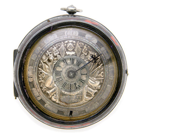 John Barnett, London. A fine and interesting silver and tortoise-shell pair cased fusee verge pocket watch with single hand and inner revolving hour disc  No.511, circa 1700