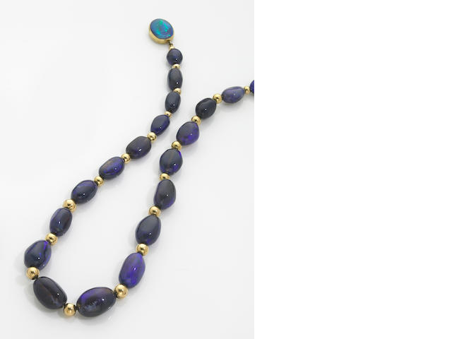 Unusual Black Opal Nugget Necklace