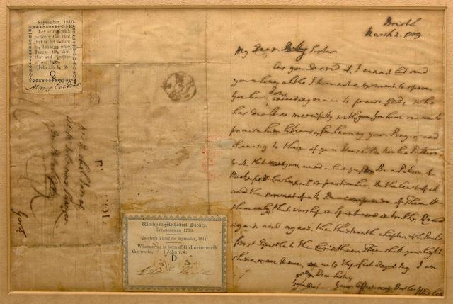 WESLEY, JOHN.  1703-1791.