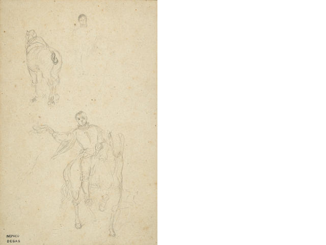 Attributed to Edgar Degas (French, 1834-1917) Equestrian Studies: a double sided work 8 3/4 x 5 13/16in (22.3 x 14.5cm)