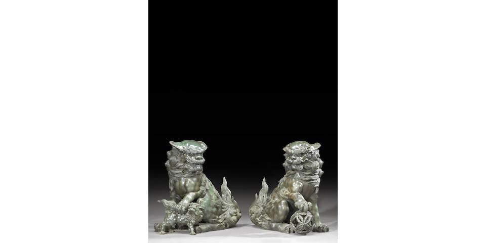 A pair of massive cast bronze karashishi Meiji/Taisho Period