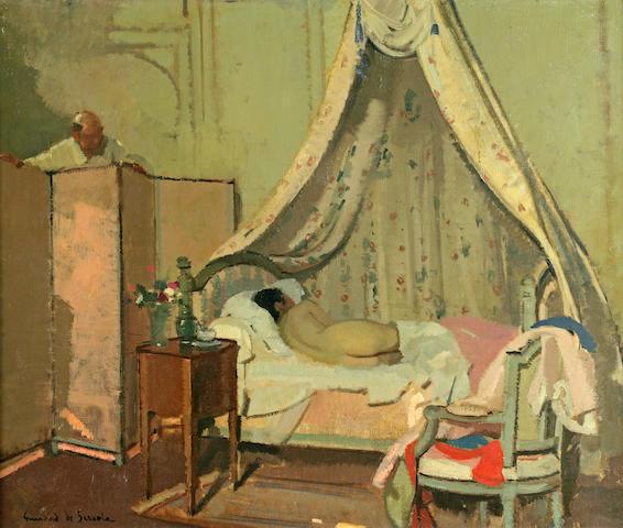 Lucien Victor Guirand de Scevola (1871-1950) Regard Furtif sur une Jeune Femme 22 x 25 3/4in (55.9 x 65.4cm)