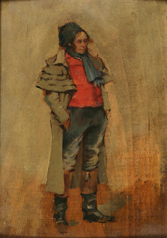 Jean Louis Ernest Meissonier (French, 1815-1891) Portrait of a Standing Man 8 3/4 x 6 1/4in (22.2 x 15.9cm)
