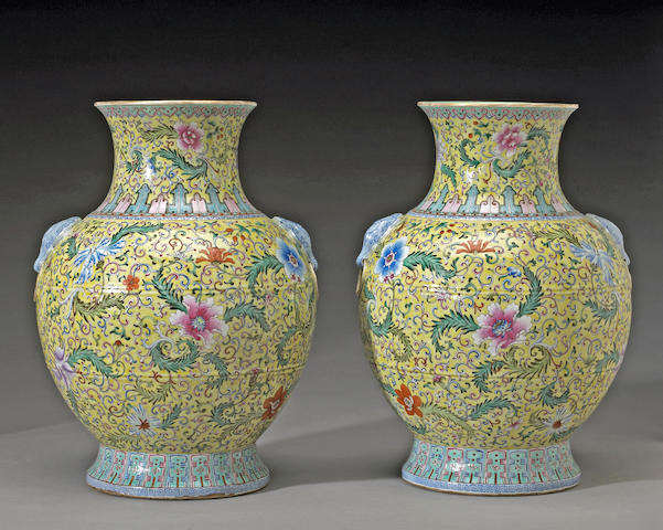 A pair of famille jaune decorated porcelain vases Qianlong Marks, Late 19th Century