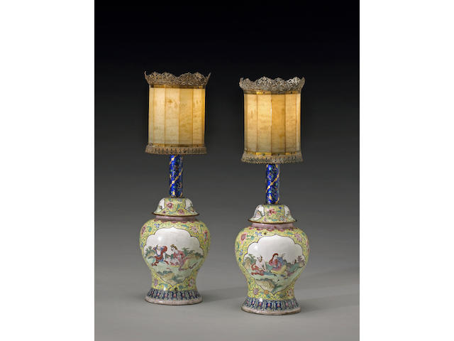 A pair of unusual Canton enameled metal lanterns with nephrite shades The Vases, Six-Character Qianlong Mark and of the Period, the Shades 19th/20th Century