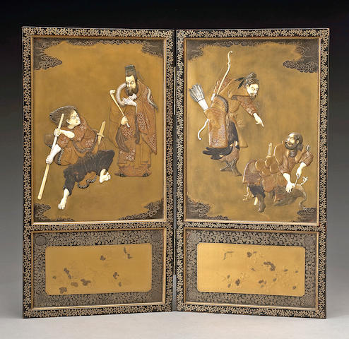 A Shibayama-style two panel table screen Meiji Period