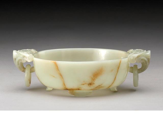 A pale greenish white jade shallow  bowl