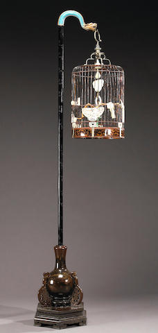 An impressive tortoise shell, ivory and jade birdcage with lacquered wood and cloisonné stand 19th Century