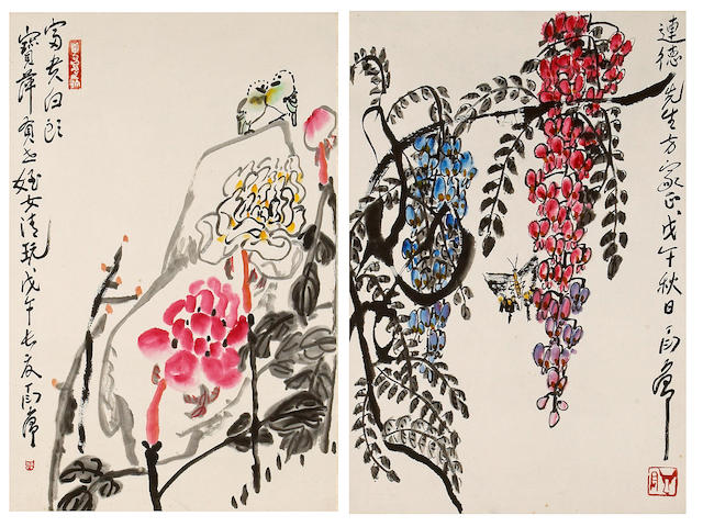 Ding Yanyong (1902-1978): two flowers paintings