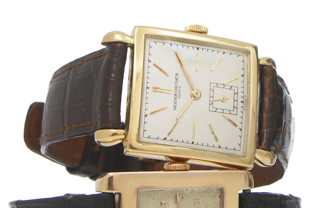Vacheron & Constantin. An 18k gold square wristwatch with tear-drop lugsCase No.305931, circa 1945