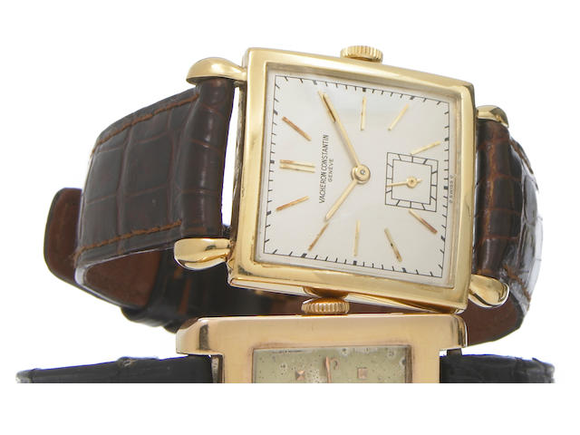 Vacheron & Constantin. An 18k gold square wristwatch with tear-drop lugs Case No.305931, circa 1945