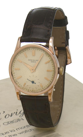 Patek Philippe. An 18k pink gold wristwatch'Calatrava', Movement No.928112, Case No.79462, made circa 1947
