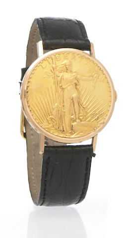 Juvenia. An unusual 18k gold twenty dollar 'Liberty' coin watch with hinged cover No.756111, 1960s