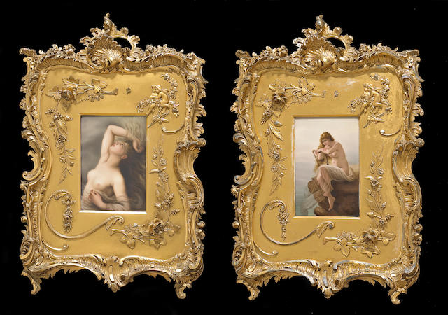 A pair of German painted porcelain plaques