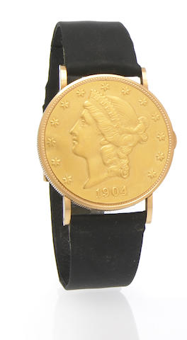 Eska. An 18k gold twenty-dollar Liberty coin wristwatch1970s. coin dated 1904