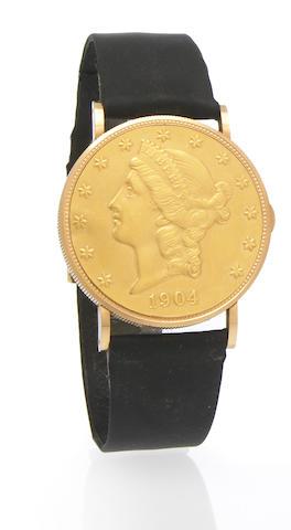 Eska. An 18k gold twenty-dollar Liberty coin wristwatch 1970s. coin dated 1904