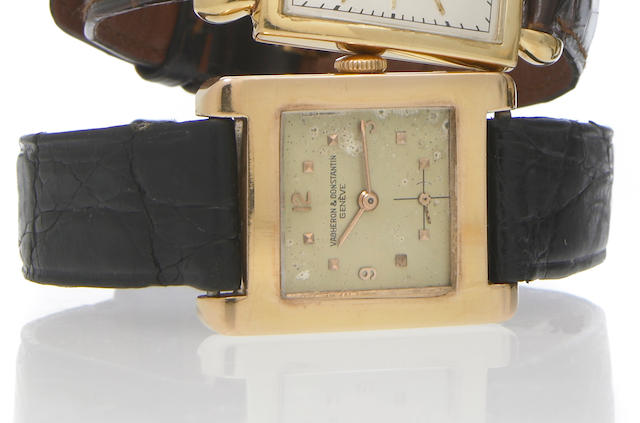 Vacheron & Constantin. An 18k gold rectangular wristwatchNo.331712, Movement No.502130, circa 1952
