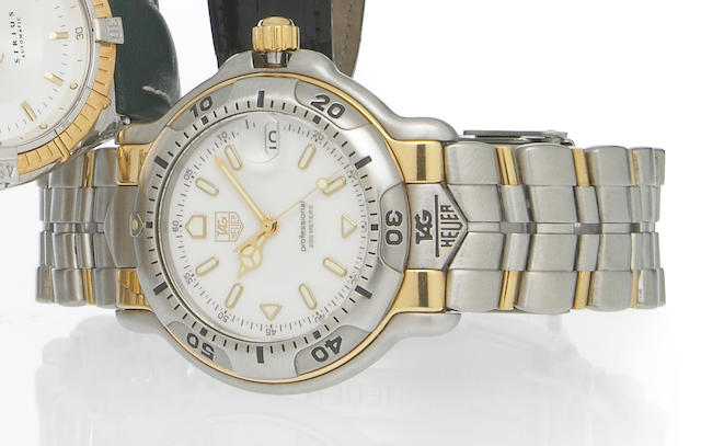 Tag Heuer. A stainless steel and 18k gold quartz calendar bracelet watchRef.Wh1151-K1, 1990s