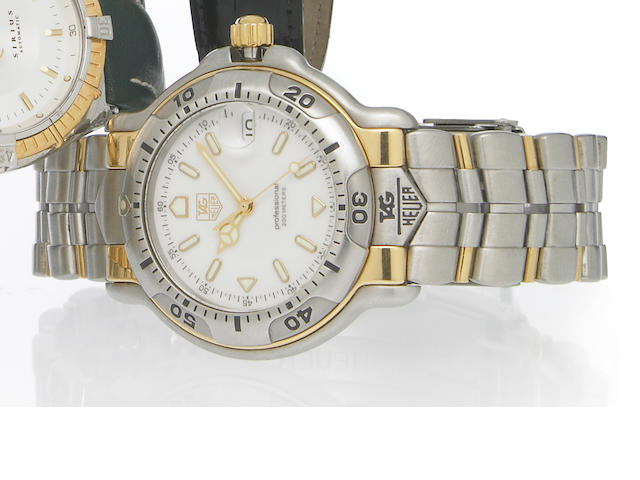 Tag Heuer. A stainless steel and 18k gold quartz calendar bracelet watch Ref.Wh1151-K1, 1990s