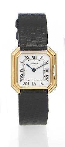 Cartier. An 18k gold octagonal cased wristwatchCinture, No.780991897, 1970s