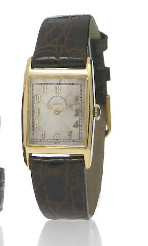 Vacheron & Constantin. An 18k gold rectangular wristwatch Movement No.40936, circa 1930