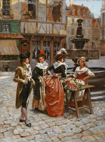 Henri Victor Lesur (French, 1863-1900) The Flower Seller 18 x 13 3/4in (45.8 x 35cm