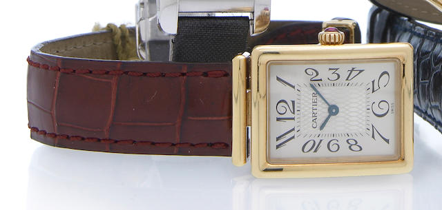Cartier. An 18k rose gold limited edition rectangular quartz wristwatch with concealed clasp Ref.2270, No.14/150, circa 1997