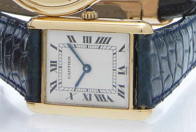 Cartier. An 18k gold rectangular quartz wristwatch Tank, 1990s