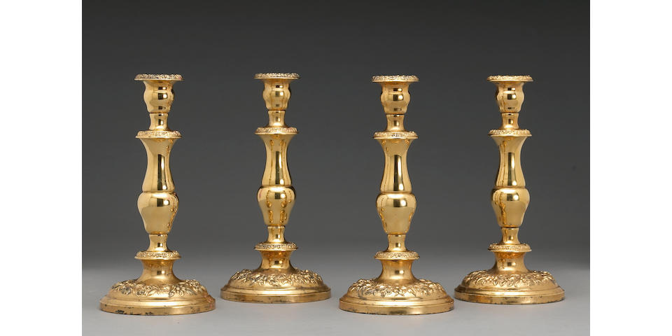 Vermeil Set Four Floral Embossed Three-Section Adjustable Weighted Candlesticks by S. Kirk & Son