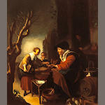 After Gerrit Dou, 19th Century The pancake seller 16 x 13 1/2in (40.6 x 34.3cm)