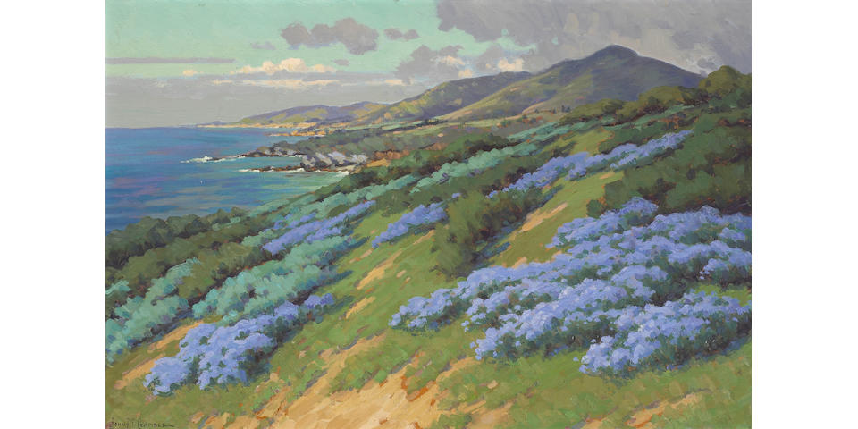 John Marshall Gamble (1863-1957) Wild Heliotrope near Laguna Beach  20 x 30in