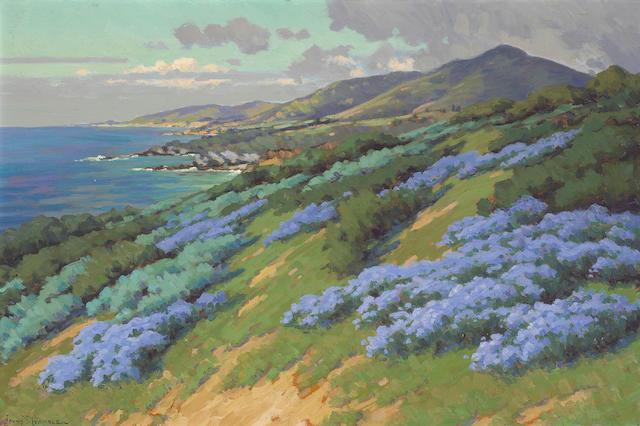 John Marshall Gamble (1863-1957) Wild Heliotrope near Laguna Beach 20 x 30in