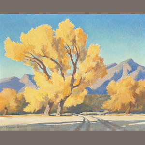 Maynard Dixon, Cottonwoods, o/bd; along with watercolor sketches; (3 total)