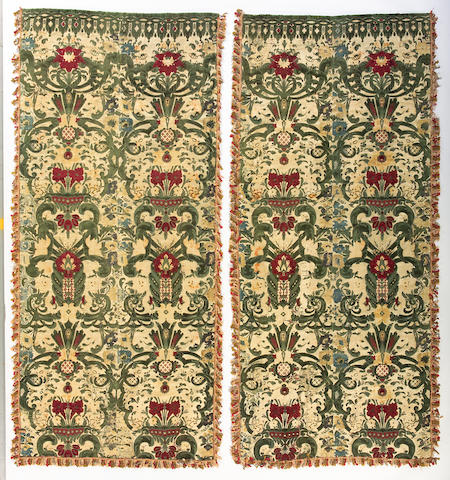 A pair of French Baroque silk cut velvet panels