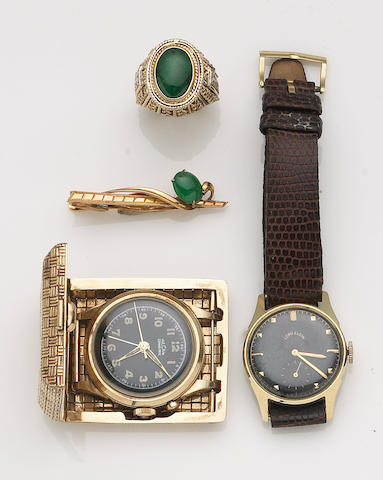 A collection of jadeite jade, diamond and 14k gold gent's jewelry together with a woven 14k gold case-travel clock