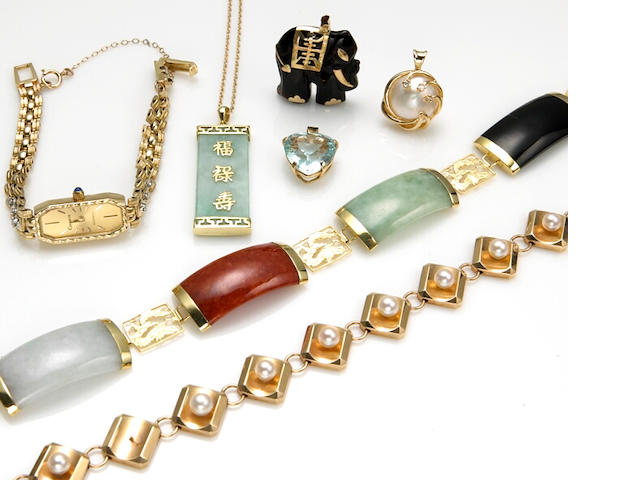 A collection of jadeite jade, cultured pearl, aquamarine, black onyx, diamond, 14k and 10k gold jewelry together with a Geneve, diamond, quartz and 14k gold wristwatch