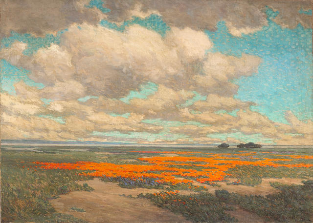 Granville Redmond, Poppies Landscape, oil on canas