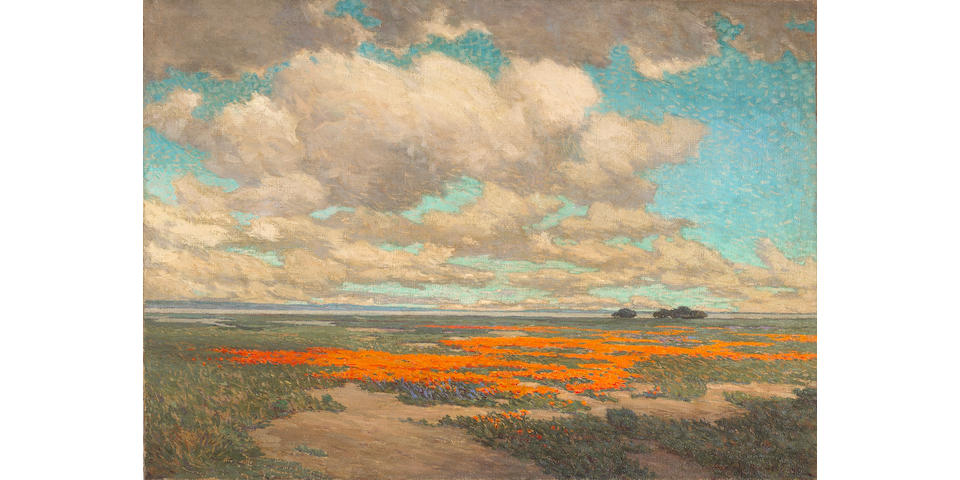Granville Redmond  (1871-1935) A Field of California Poppies, 1911 26 x 36in